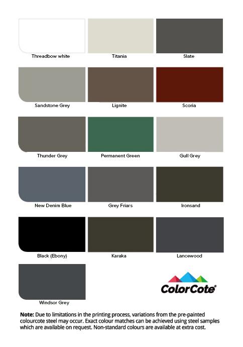 16 Colour options standard colours - Rainaway
